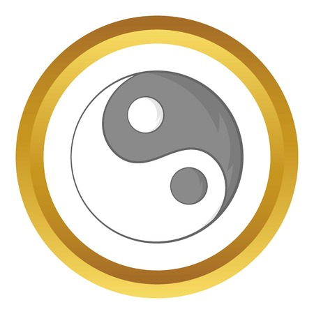 tao: Yin Yang sign vector icon in golden circle, cartoon style isolated on white background Illustration