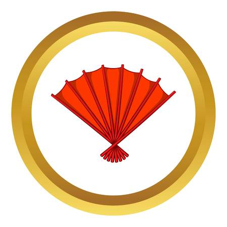 red  open: Red open hand fan vector icon in golden circle, cartoon style isolated on white background
