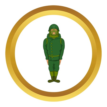 Green military camouflage uniform vector icon in golden circle, cartoon style isolated on white background Illustration