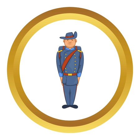 Man in a blue army uniform 19th century vector icon in golden circle, cartoon style isolated on white background Illustration