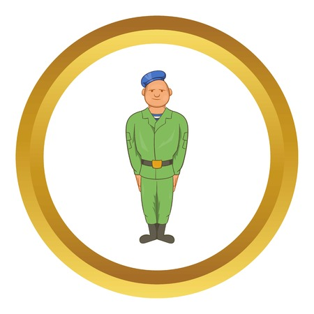 Man in green army uniform and blue beret vector icon in golden circle, cartoon style isolated on white background