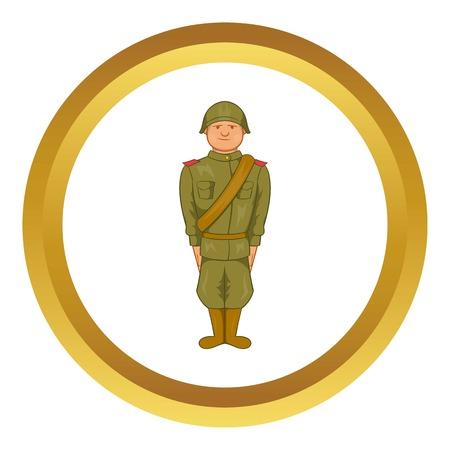 world war ii: Soviet uniform of World War II vector icon in golden circle, cartoon style isolated on white background