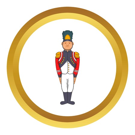 French Army soldier in uniform vector icon in golden circle, cartoon style isolated on white background