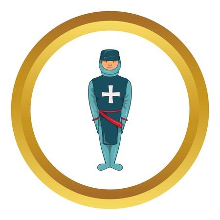 Man in a blue uniform with a cross on his chest vector icon in golden circle, cartoon style isolated on white background