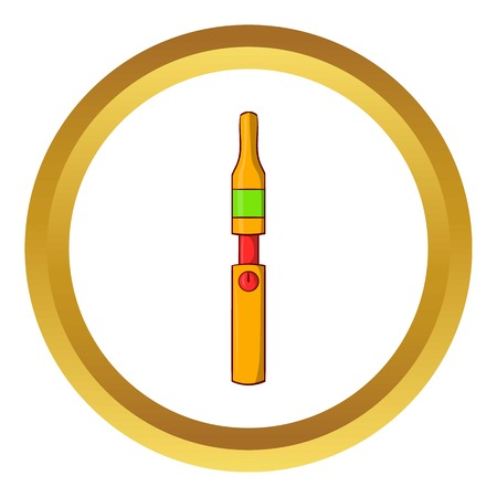 e cig: Yellow electronic cigarette vector icon in golden circle, cartoon style isolated on white background Illustration