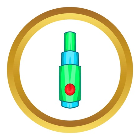Electronic cigarette atomizer vector icon in golden circle, cartoon style isolated on white background