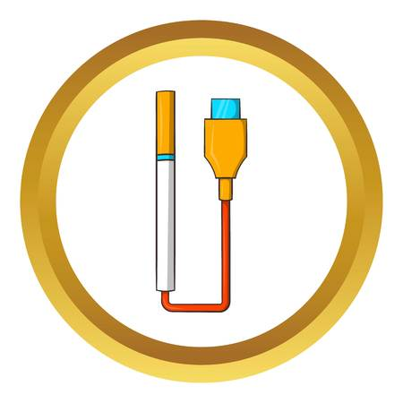 purported: Electronic cigarette with USB cable vector icon in golden circle, cartoon style isolated on white background