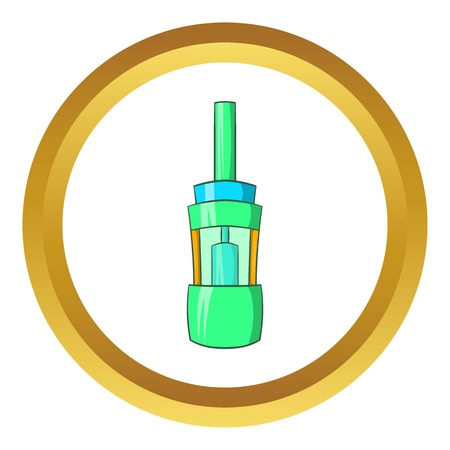 vaporized: Electronic cigarette atomizer vector icon in golden circle, cartoon style isolated on white background