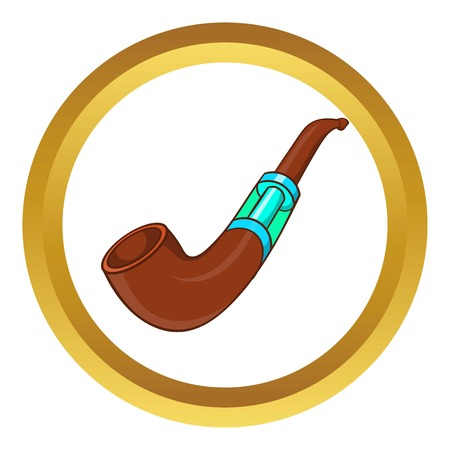 Electronic smoking pipe vector icon in golden circle, cartoon style isolated on white background Illustration