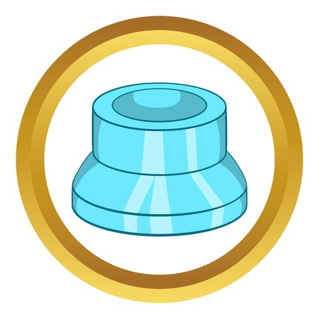Transparent plastic cap vector icon in golden circle, cartoon style isolated on white background Illustration