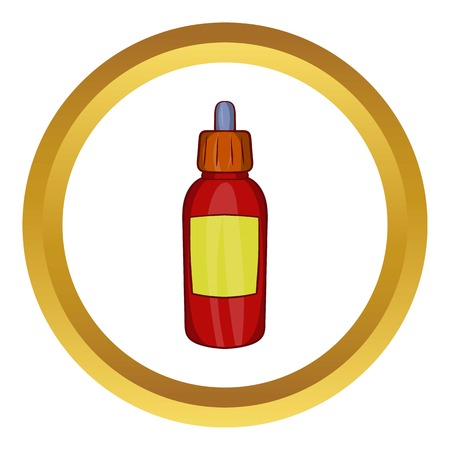 Refill bottle with pipette vector icon in golden circle, cartoon style isolated on white background
