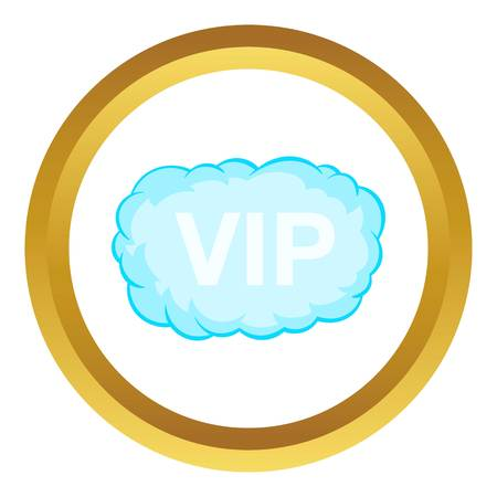 VIP word in a cloud vector icon in golden circle, cartoon style isolated on white background Illustration