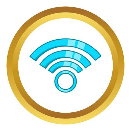 Wireless network symbol vector icon in golden circle, cartoon style isolated on white background