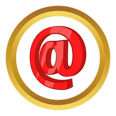 Red email sign vector icon in golden circle, cartoon style isolated on white background