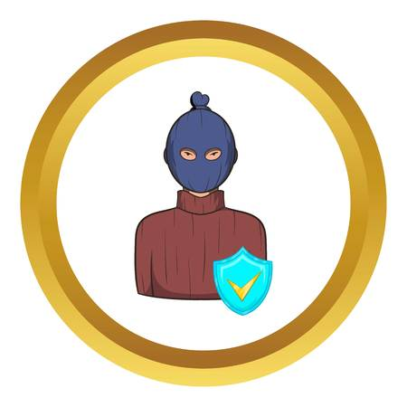 Robbery insurance vector icon in golden circle, cartoon style isolated on white background Illustration