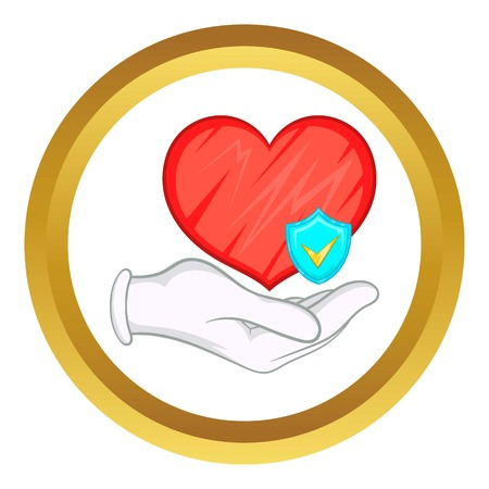 insure: Hand holding red heart and sky blue shield with tick vector icon in golden circle, cartoon style isolated on white background