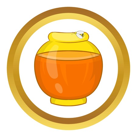 Bank with honey vector icon in golden circle, cartoon style isolated on white background Illustration