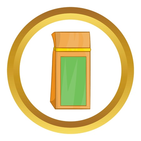 Tea packed in a paper bag vector icon in golden circle, cartoon style isolated on white background
