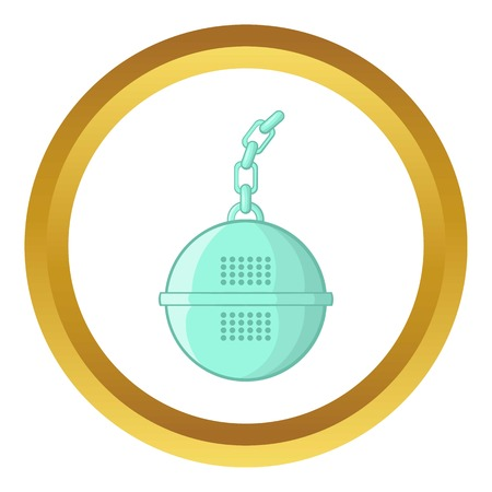 Steel strainer vector icon in golden circle, cartoon style isolated on white background Illustration