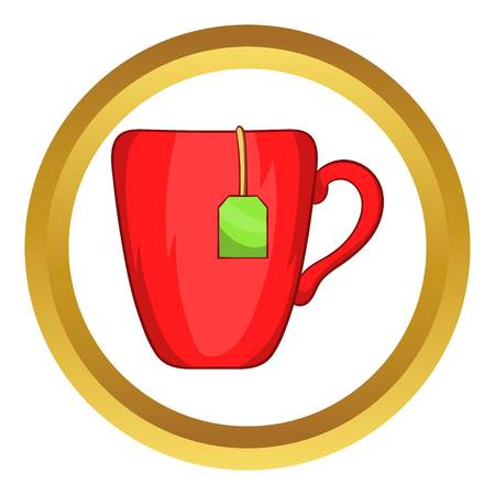 Red cup with tea bag vector icon in golden circle, cartoon style isolated on white background