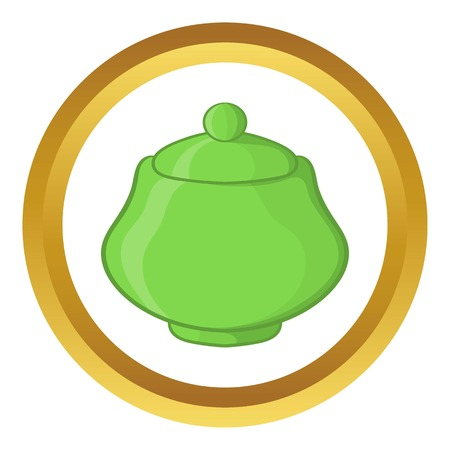 Green ceramic sugar bowl vector icon in golden circle, cartoon style isolated on white background