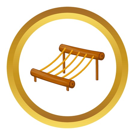rope ladder: Children rope ladder vector icon in golden circle, cartoon style isolated on white background