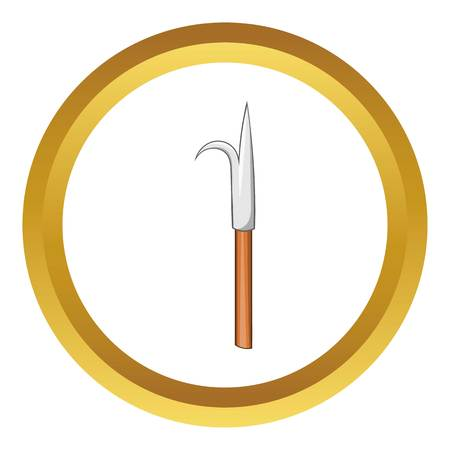 barbed: Hook vector icon in golden circle, cartoon style isolated on white background