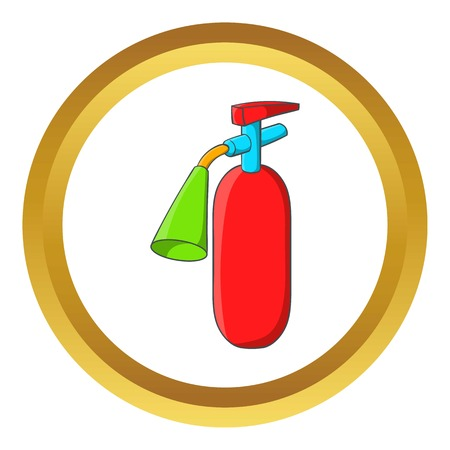 suppression: Fire extinguisher vector icon in golden circle, cartoon style isolated on white background