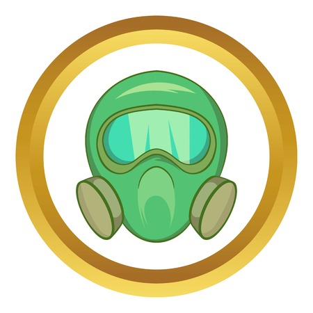 masked: Gas mask vector icon in golden circle, cartoon style isolated on white background Illustration
