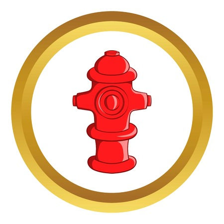 Fire hydrant vector icon in golden circle, cartoon style isolated on white background Illustration