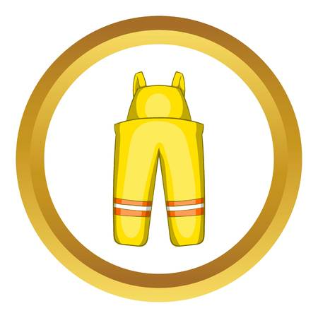 dangerous work: Firefighter costume vector icon in golden circle, cartoon style isolated on white background