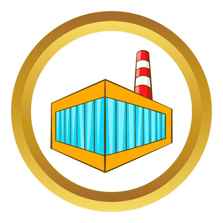 Beer bottling building vector icon in golden circle, cartoon style isolated on white background