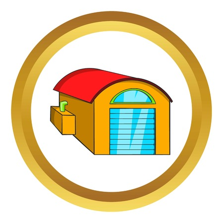 depot: Warehouse vector icon in golden circle, cartoon style isolated on white background Illustration