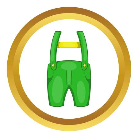 pocket size: Pants with suspenders vector icon in golden circle, cartoon style isolated on white background