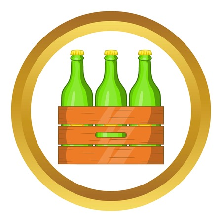 Box of beer vector icon in golden circle, cartoon style isolated on white background