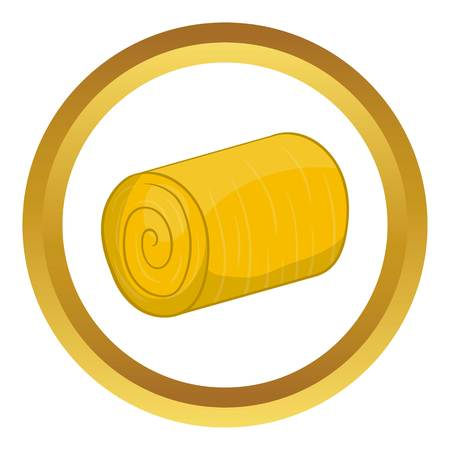 bales: Haystack vector icon in golden circle, cartoon style isolated on white background