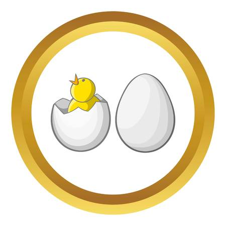 Chick in egg vector icon in golden circle, cartoon style isolated on white background