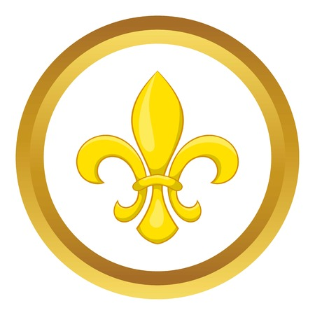 Fleur de lis vector icon in golden circle, cartoon style isolated on white background Illustration