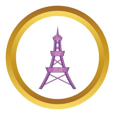 Eiffel Tower vector icon in golden circle, cartoon style isolated on white background