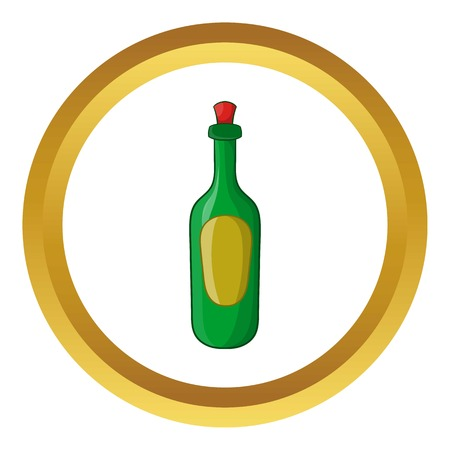 Green bottle of wine vector icon in golden circle, cartoon style isolated on white background
