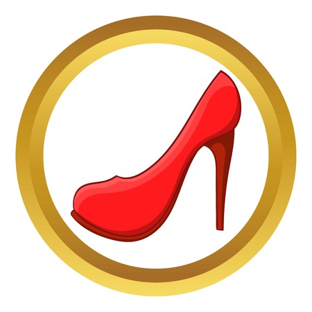high heel shoe: Red high heel shoe vector icon in golden circle, cartoon style isolated on white background