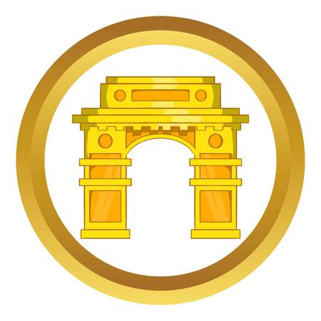 India Gate, New Delhi vector icon in golden circle, cartoon style isolated on white background