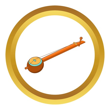 Traditional one string Indian ektara vector icon in golden circle, cartoon style isolated on white background Illustration