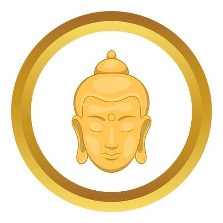 Head of Buddha vector icon in golden circle, cartoon style isolated on white background