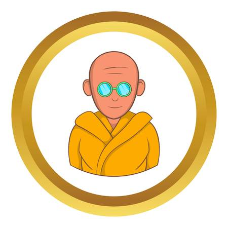 tibetian: Indian monk in sunglasses vector icon in golden circle, cartoon style isolated on white background