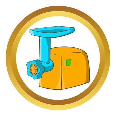meat grinder: Electric grinder vector icon in golden circle, cartoon style isolated on white background