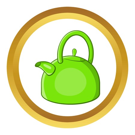 Kettle vector icon in golden circle, cartoon style isolated on white background
