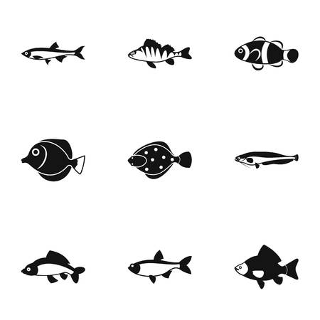 clown tang: Species of fish icons set. Simple illustration of 9 species of fish vector icons for web