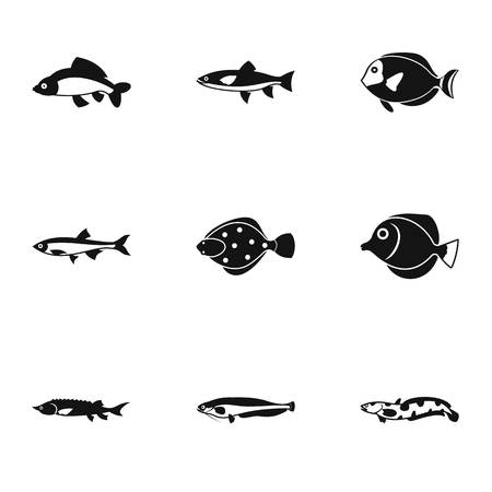 Fish icons set. Simple illustration of 9 fish vector icons for web Illustration