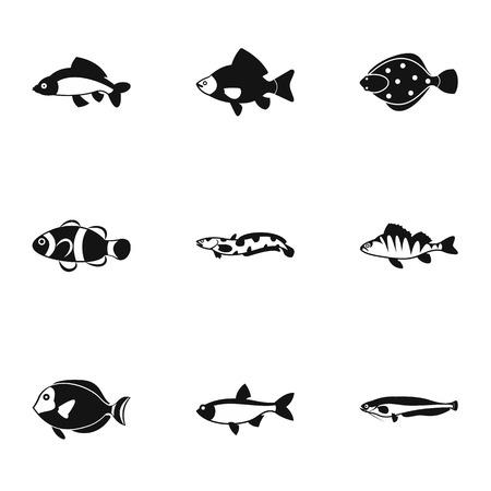 Ocean fish icons set. Simple illustration of 9 ocean fish vector icons for web Illustration